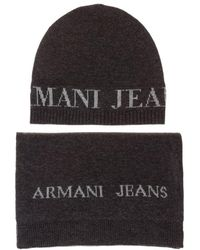 Armani Jeans - Beanie And Scarf Gift Set - Lyst