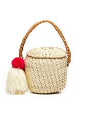 Soludos - Exclusive! Merida Basket Woven Pom Pom Bag - Lyst