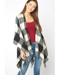 South Moon Under - Buffalo Plaid Fringe Kimono - Lyst