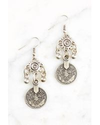 South Moon Under - Pewter Coin Earring - Lyst