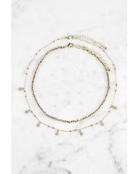 South Moon Under - Beaded Cubic Zirconia Gold Choker - Lyst