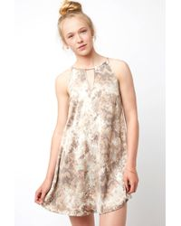 South Moon Under - Sleeveless Keyhole Swing Dress In Snake Print - Lyst