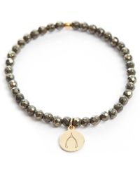 South Moon Under - Mini Bliss Pyrite Beaded Wishbone Charm Bracelet - Lyst