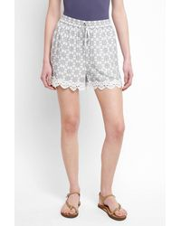 Skies Are Blue - Lace Trim Printed Shorts - Lyst