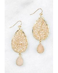 South Moon Under - Beaded Druzy Charm Teardrop Earrings - Lyst
