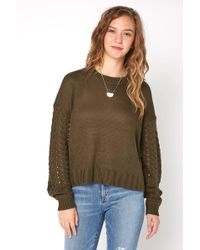 South Moon Under - Cableknit Sleeve Crewneck Sweater - Lyst