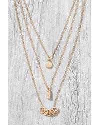 South Moon Under Pull Through Stone Y Necklace Gold