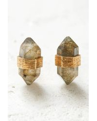 South Moon Under - Gold And Labradorite Prism Stud Earrings - Lyst