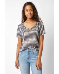 South Moon Under - Suzie Linen Knit Striped Tee - Lyst