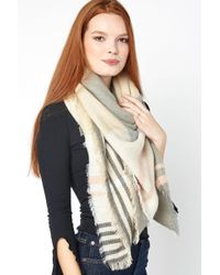 South Moon Under - Taupe Plaid Oversized Blanket Wrap - Lyst