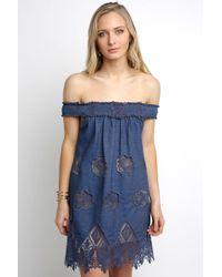 South Moon Under - Off Shoulder Cutwork Mini Dress - Lyst