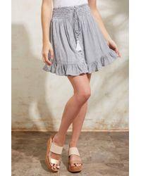 Olivaceous Striped Smocked Waist Mini Skirt Blue Multi