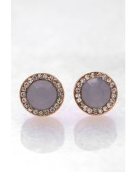 South Moon Under - Blue Stone With Cz Wreath Stud - Lyst
