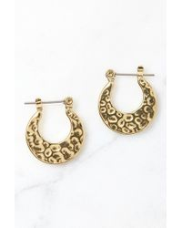 South Moon Under - Gold Mini Hammered Sheet Hoop Earrings - Lyst