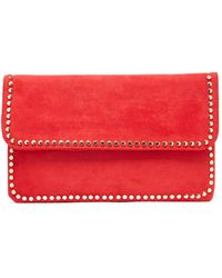 South Moon Under - Foldover Studded Red Clutch - Lyst