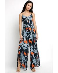 Patrons Of Peace - Bare V Neck Tie Front Palm Print Jumpsuit - Lyst