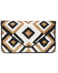 South Moon Under - Diamond Black & Gold Beaded Clutch - Lyst