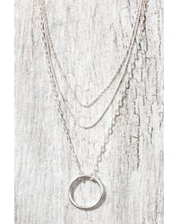 Kevia | Silver Chain 3 Layer Circle Necklace | Lyst