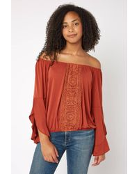311ba009da40b3 South Moon Under - Off The Shoulder Ruffle Sleeve Embroidered Blouse - Lyst