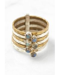 South Moon Under - Mixed Metal Six Band Moonstone Ring - Lyst