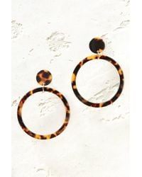 South Moon Under - Tortoise Large Circle Drop Earrings - Lyst