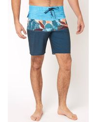 South Moon Under - Tribong Pro Floral Colorblock Boardshort - Lyst