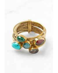 South Moon Under - Five Stone Brass Stack Ring - Lyst