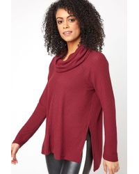 South Moon Under - Waffle Knit Cowl Neck Thermal Pullover - Lyst