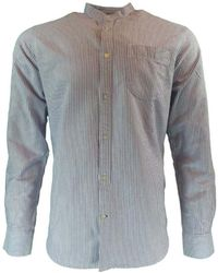 Knowledge Cotton Apparel | Stand Collar Striped Shirt Men's Long Sleeved Shirt In Blue | Lyst