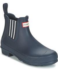 HUNTER - ORIGINAL GARDEN STRIPE CHELSEA femmes Boots en bleu - Lyst c251d80041f