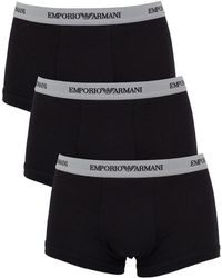 Armani | Men's 3 Pack Stretch Cotton Trunks, Black Men's Underwear In Black | Lyst