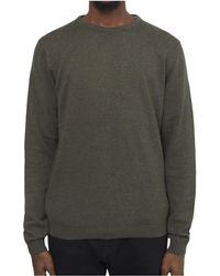 The Idle Man - Knitted Crew Neck Jumper Khaki Men's Sweatshirt In Other - Lyst