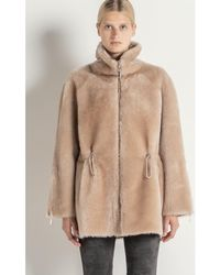 Max & Moi - Luxurious Coat In Woollen Skin Raoul-h18-natural-conf Flesh Woma Women's Coat In Beige - Lyst