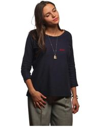 L'affaire De Rufus - Organic Cotton Round Neck Sweatshirt Raymonde Navy Blue / Red W Women's In Blue - Lyst