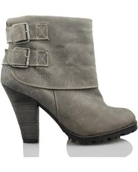Vienty - Booty Woman Buckles Women's Low Ankle Boots In Grey - Lyst
