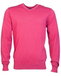 Armani Jeans - V Neck Knitwear Jumper 8n6mc7 6m11z Men's Jumper In Pink - Lyst