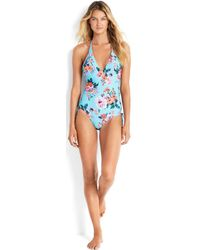 Seafolly , Reversible Swimsuit V-neck, Deep V Cut, Blue Turquoise Women's In Multicolour