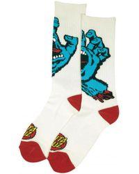 Santa Cruz - Screaming Hand Socks - White Men's Stockings In White - Lyst