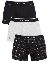 Lacoste - Men's 3 Pack Trunks, Multicoloured Men's In Multicolour - Lyst