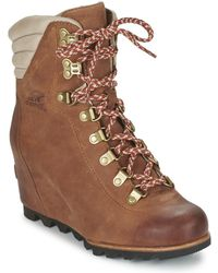 Sorel - Conquest Wedge Women's Low Ankle Boots In Brown - Lyst
