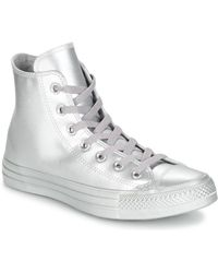 0a6fba0667ae Converse - Chuck Taylor All Star Liquid Metallic Hi Silver silver silver  Women s Shoes
