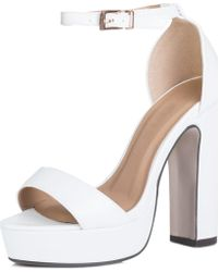 93e941fd93b SPYLOVEBUY - Laura Platform Block Heel Barely There Sandals Shoes - White  Le Women s Sandals In