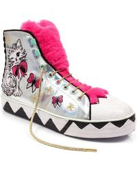 Irregular Choice - Magic Moggy Women's Shoes (high-top Trainers) In Silver - Lyst