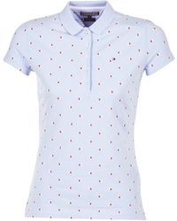 Tommy Hilfiger - New-chiara-str-pq-prt-polo Women's Polo Shirt In Blue - Lyst