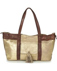 Pieces - Stella Leather Bag Women's Shoulder Bag In Gold - Lyst