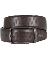 Lacoste - Brown Reversible Punched Leather Belt - Lyst