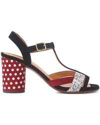 Chie Mihara - Ujo Black And Red Polka Dots Suede Heeled Sandal Women's Sandals In Black - Lyst