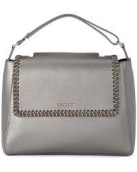 Orciani - Sveva Medium Carbon Metal Leather Handbag With Chain Women's Handbags In Grey - Lyst