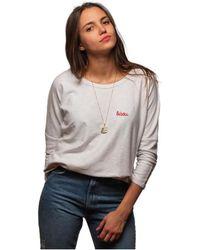 L'affaire De Rufus - Organic Cotton Round Neck Sweatshirt Susan White / Red Woman Sp Women's Blouse In White - Lyst