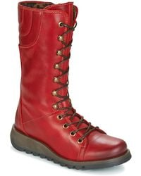 Fly London - Ster Women's Mid Boots In Red - Lyst